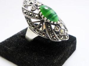 Аукцион на серебряное кольцо ручной работы малахит. Ярмарка Мастеров - ручная работа, handmade.