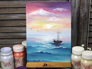 Пишем морской пейзаж с лодкой. Ярмарка Мастеров - ручная работа, handmade.