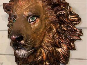 Мой большой, красивый лев. Барельеф. Ярмарка Мастеров - ручная работа, handmade.