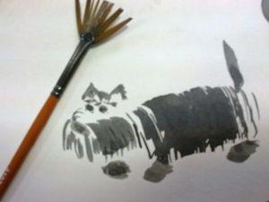Мастер-класс: рисуем собаку в технике Суми-ё. Ярмарка Мастеров - ручная работа, handmade.