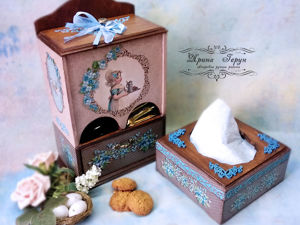 «Незабудки»   — буфетик и салфетница. Ярмарка Мастеров - ручная работа, handmade.