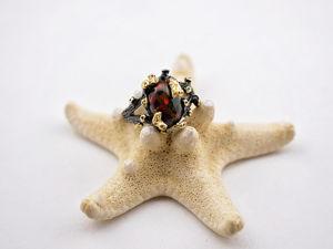 Кольцо с черным опалом. Ярмарка Мастеров - ручная работа, handmade.