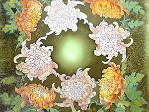 Шёлковые Хризантемы.(платок)холодный Батик.М,К, от Виктории Игнатовой.. Ярмарка Мастеров - ручная работа, handmade.