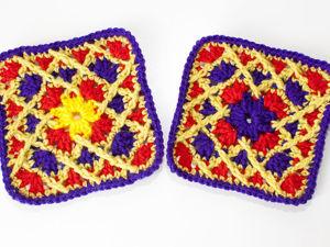Мотив «бабушкин квадрат» со скрещенными столбиками. Ярмарка Мастеров - ручная работа, handmade.