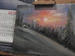 """Как нарисовать картину маслом """"Зимний лес"""" за полчаса в подарок к Новому году. Ярмарка Мастеров - ручная работа, handmade."""
