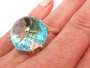Видео кольца«Blue Ice» голубой топаз,золото 585 ручная работа. Ярмарка Мастеров - ручная работа, handmade.