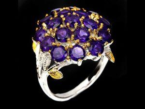 Крупное серебряное кольцо с аметистом, размер 18,5. Ярмарка Мастеров - ручная работа, handmade.