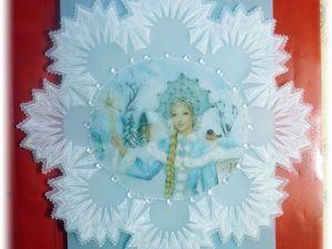 Как сделать открытку «Снегурочка» в технике «парчмент крафт». Ярмарка Мастеров - ручная работа, handmade.