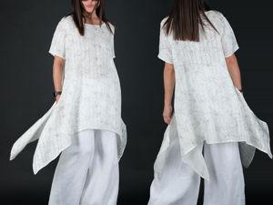 Видио, белый льняной костюм, широкие брюки и свободный топ!. Ярмарка Мастеров - ручная работа, handmade.