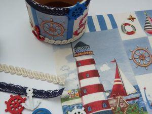 Морская баночка для мелочей, или Как подарить вторую жизнь картонной катушке. Ярмарка Мастеров - ручная работа, handmade.