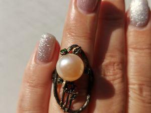 Видео кольца с натуральным жемчугом. Ярмарка Мастеров - ручная работа, handmade.