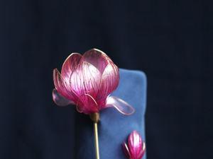 Розовая Магнолия в технике Dip art  и перегородчатой пайки. Ярмарка Мастеров - ручная работа, handmade.