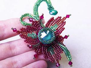 Процесс изготовления цветка-брошки «Фантазия» с кристаллом Swarovski. Ярмарка Мастеров - ручная работа, handmade.