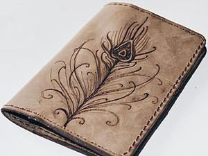 Easy Project: Passport Cover with Burnt Feather. Livemaster - hecho a mano - handmade.