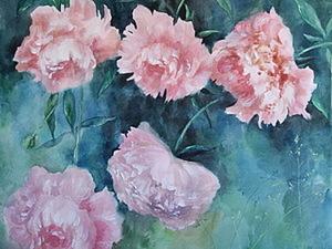 Рисуем розовые пионы в смешанной технике «акварель + акрил». Ярмарка Мастеров - ручная работа, handmade.
