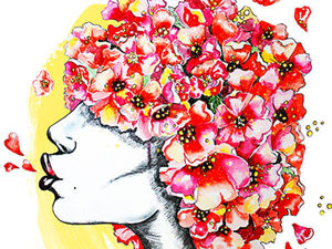 Мастер-класс по рисованию в смешанной технике: «Девушка в цветах». Ярмарка Мастеров - ручная работа, handmade.