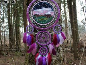 Новый ловец снов  «Крокусы и рассвет». Ярмарка Мастеров - ручная работа, handmade.
