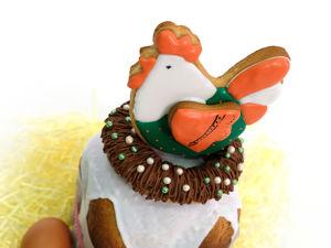 Украшаем пасхальный кулич пряничной курочкой. Ярмарка Мастеров - ручная работа, handmade.