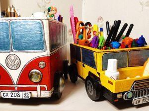 Органайзеры в технике картонаж: микроавтобус и внедорожник. Ярмарка Мастеров - ручная работа, handmade.
