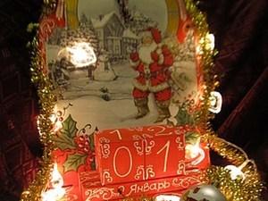 """Новогодние часы-календарь """"Санта Клаус"""". Ярмарка Мастеров - ручная работа, handmade."""