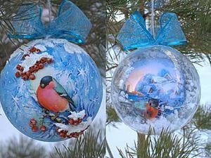 Мастер-класс: декорируем шарик «Снегирь и рябина». Ярмарка Мастеров - ручная работа, handmade.