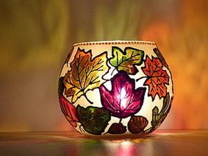 Роспись подсвечника «Осень золотая». Ярмарка Мастеров - ручная работа, handmade.