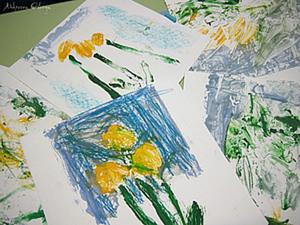 """Рисуем с малышами монотипия """"Одуванчики"""". Ярмарка Мастеров - ручная работа, handmade."""