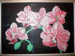 """Панно """"Орхидеи"""" в технике точечной росписи point-to-point. Ярмарка Мастеров - ручная работа, handmade."""