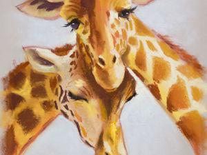 Солнечные жирафики ( процесс рисования сухой пастелью). Ярмарка Мастеров - ручная работа, handmade.