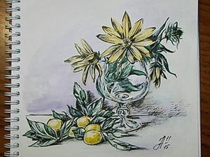 """Рисуем скетч с технике """"акварельная графика"""". Ярмарка Мастеров - ручная работа, handmade."""