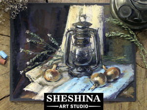 Видеоурок: рисуем натюрморт с керосиновой лампой сухой пастелью. Ярмарка Мастеров - ручная работа, handmade.