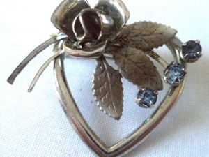 Аукцион: Антикварная серебряная брошь с топазами Роза и Сердце, Англия, 1950е. Ярмарка Мастеров - ручная работа, handmade.