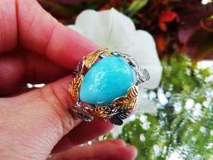 Скидка на кольцо с доминиканским ларимаром!. Ярмарка Мастеров - ручная работа, handmade.