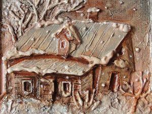 """Создаем объемные картины из картона """"Домик в деревне"""". Ярмарка Мастеров - ручная работа, handmade."""