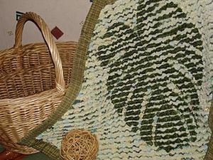Мастер-класс: коврик с «отпечатком» листа в технике «синель». Часть 1. Ярмарка Мастеров - ручная работа, handmade.