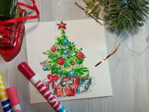 Рисуем елочку на старый Новый год. Ярмарка Мастеров - ручная работа, handmade.