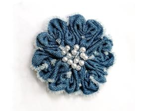 Создаем простой цветок из джинсовой ткани. Ярмарка Мастеров - ручная работа, handmade.