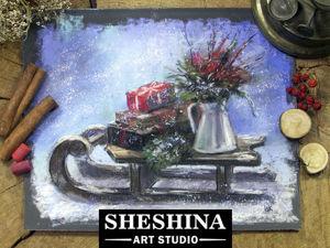 Видеоурок: рисуем рождественские сани сухой пастелью. Ярмарка Мастеров - ручная работа, handmade.