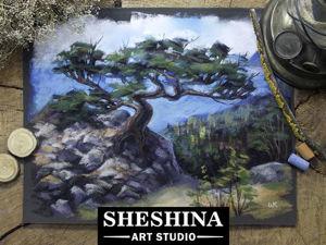 Видеоурок: рисуем горный пейзаж с сосной сухой пастелью. Ярмарка Мастеров - ручная работа, handmade.