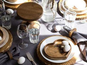 Особенности сервировки  стола с деревянными изделиями. Ярмарка Мастеров - ручная работа, handmade.