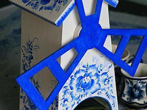 Роспись мельницы в стиле гжель. Ярмарка Мастеров - ручная работа, handmade.