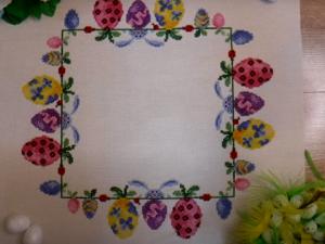 Вышивка пасхальной салфетки. Ярмарка Мастеров - ручная работа, handmade.