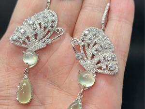 Серьги и кольцо с пренитом серебряные. Ярмарка Мастеров - ручная работа, handmade.