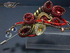 Creating a Bright Shibbori Ribbon Brooch. Livemaster - handmade