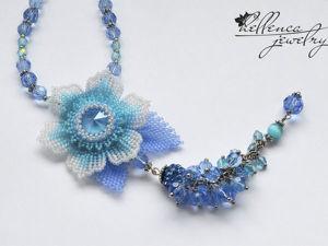Создаем колье с цветком «Summer Blue». Ярмарка Мастеров - ручная работа, handmade.