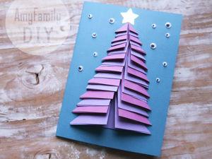 Новогодняя открытка из бумаги с объемной елочкой!. Ярмарка Мастеров - ручная работа, handmade.