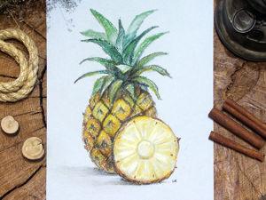 Видео-процесс: «Как нарисовать ананас сухой пастелью». Ярмарка Мастеров - ручная работа, handmade.