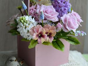 Весенние цветы в ящичке!. Ярмарка Мастеров - ручная работа, handmade.