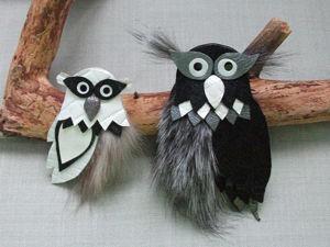 Мастерим брошь из кожи и меха «Совушка». Ярмарка Мастеров - ручная работа, handmade.