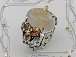 Кольцо «Рутиловый кварц-волосатик» серебро 925, кварц, цитрины. Ярмарка Мастеров - ручная работа, handmade.